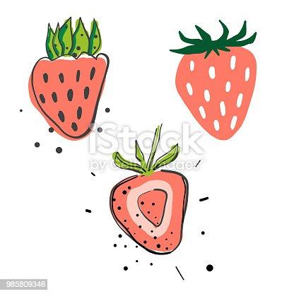 istock Strawberries pencil drawings 985809346