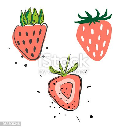 Vector illustration of a collection of hand drawn strawberries