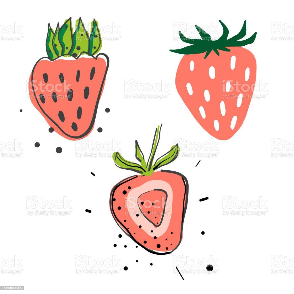Strawberries pencil drawings vector art illustration