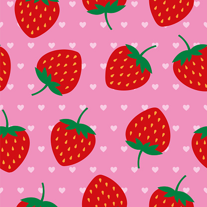 Strawberries Seamless pattern.