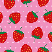 Vector illustration of seamless pattern with red strawberries on a pink background in a flat style. Stock illustration