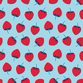 Vector illustration of seamless pattern with red strawberries on a light blue color background. Stock illustration