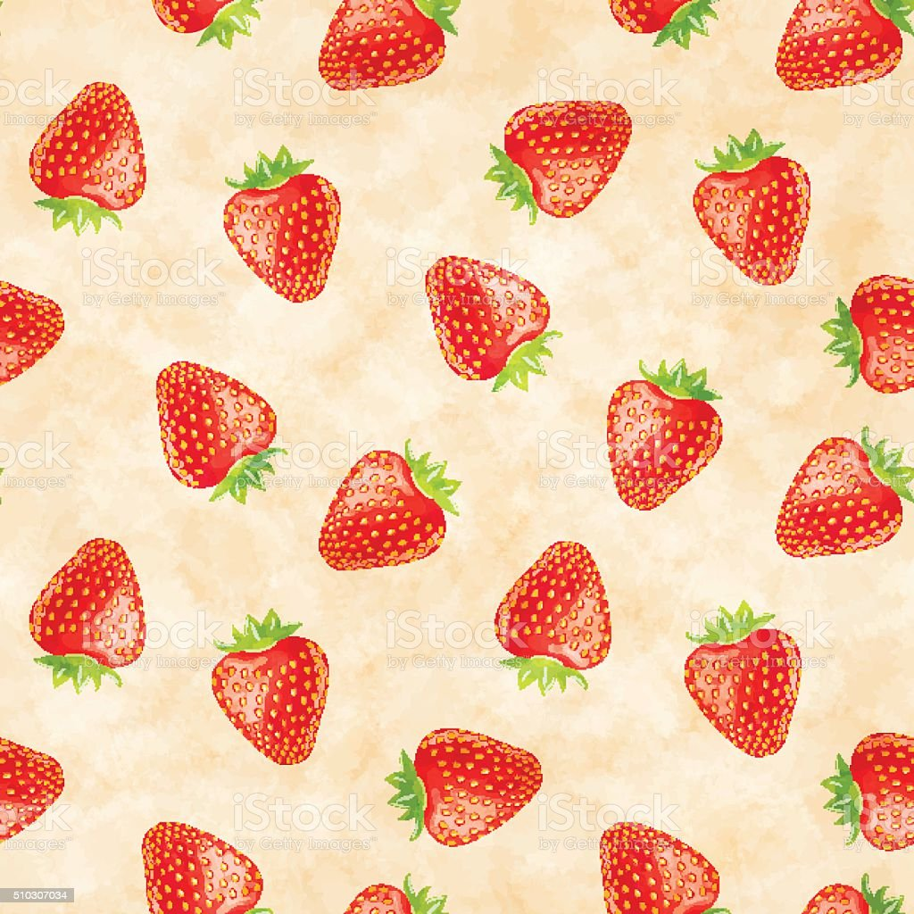 Strawberries seamless pattern vector art illustration