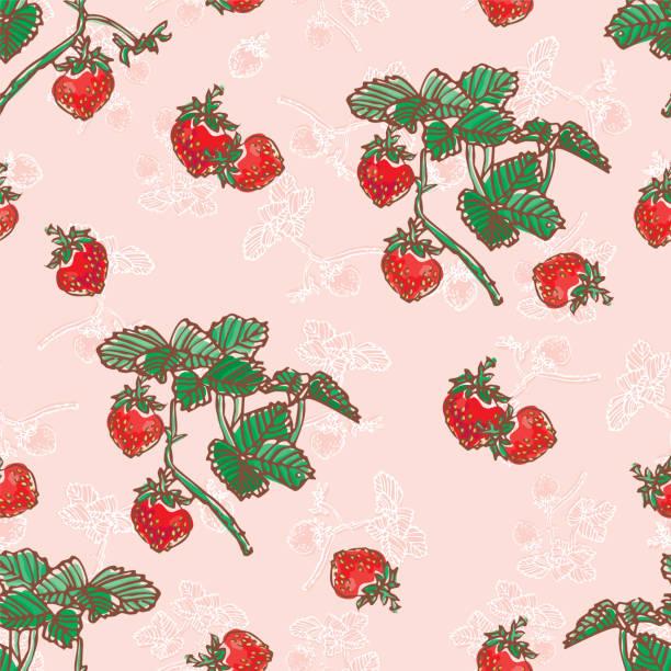 Strawberries Seamless Pattern vector art illustration
