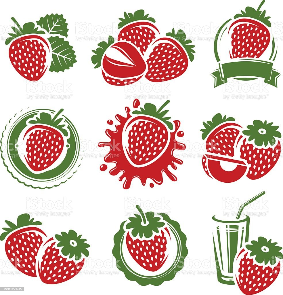 Strawberries set. Vector vector art illustration
