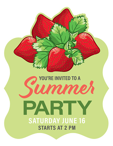 Strawberries Summer Party Background