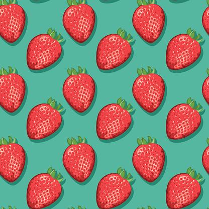 Strawberries (Seamless pattern pop art style)