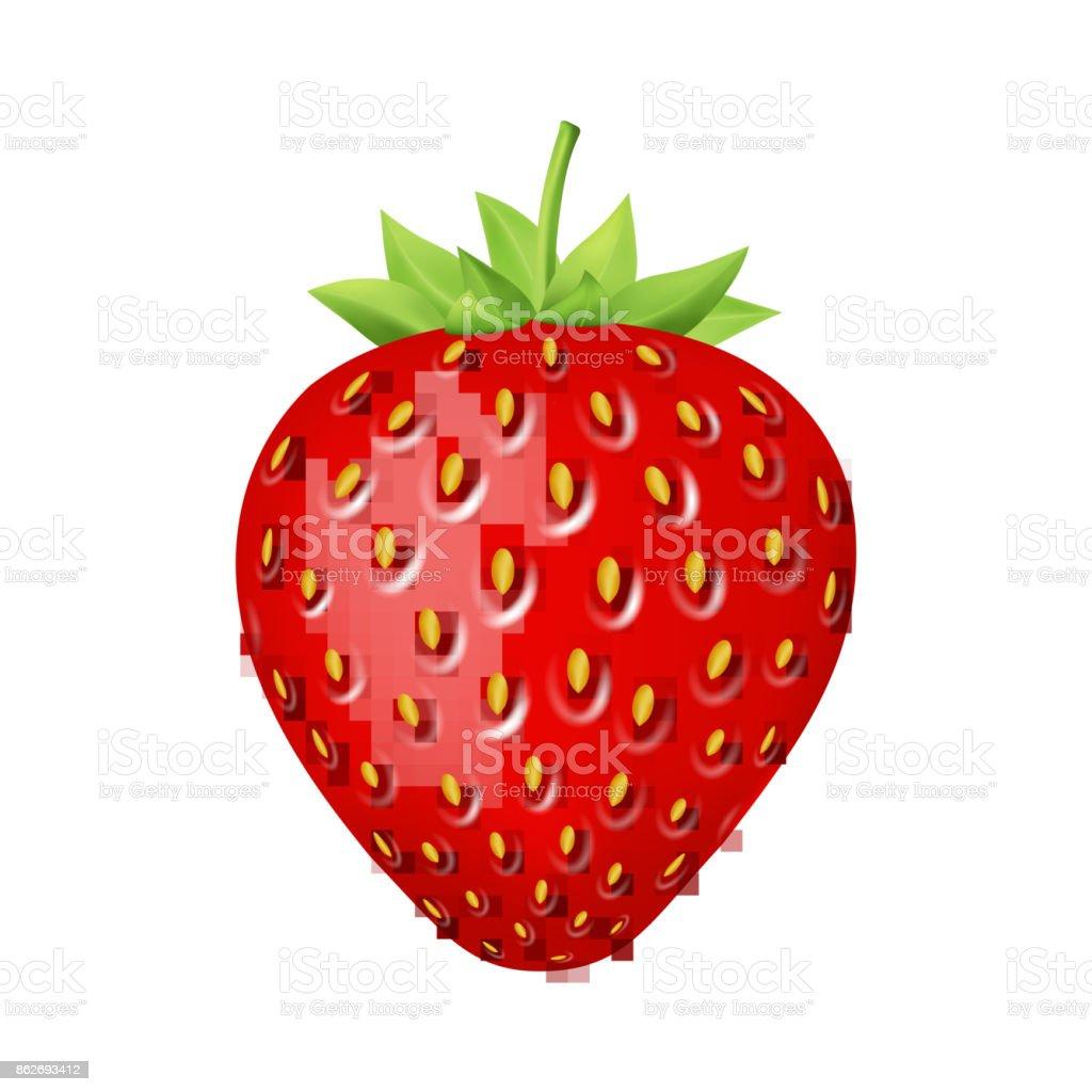Strawberry 3d vector icon. vector art illustration