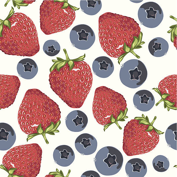 Strawberry and blueberry tile. vector art illustration
