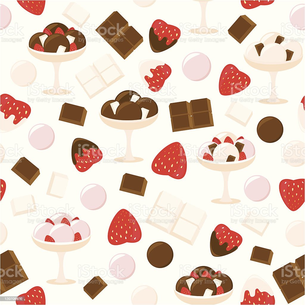 Strawberry and chocolate ice cream pattern royalty-free stock vector art