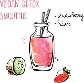 Vector illustration of vegan detox smoothie. Hand drawn recipe of healthy drink made of kiwi and strawberry. Black outline and bright watercolor textured stains with artistic drips. Isolated on white.