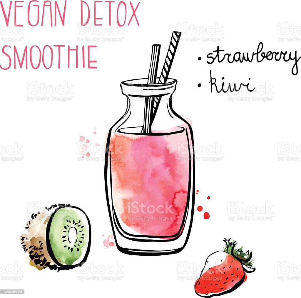 Strawberry and kiwi smoothie vector art illustration