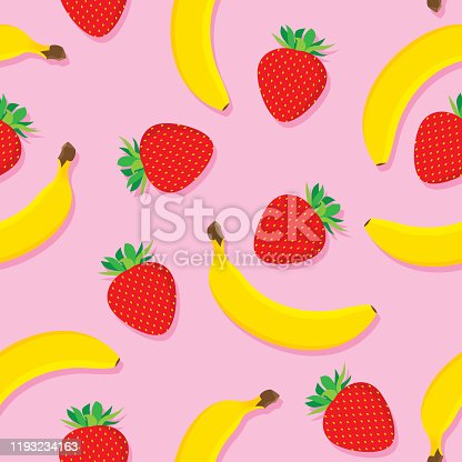 Vector illustration of strawberries and bananas in a repeating pattern against a pink background.