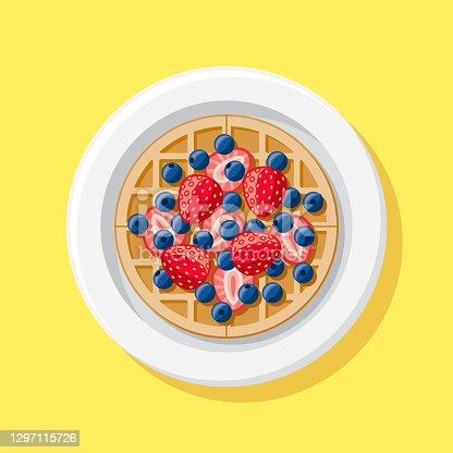 istock Strawberry Blueberry Waffle Overhead Icon 1297115726