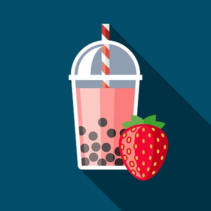 Strawberry Bubble Tea Flavor Icon