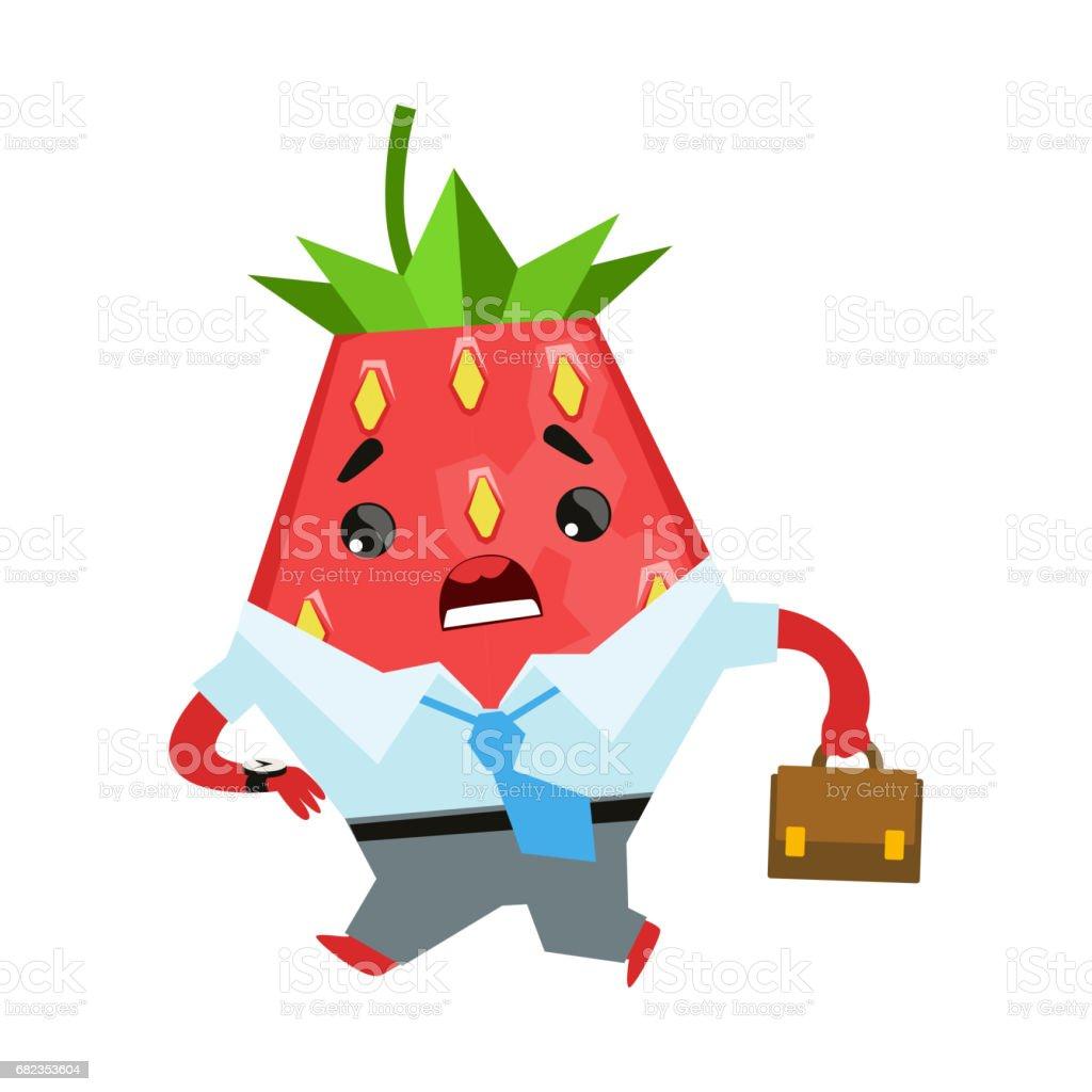 Strawberry businessman with briefcase. Cute cartoon emoji character vector Illustration royaltyfri strawberry businessman with briefcase cute cartoon emoji character vector illustration-vektorgrafik och fler bilder på bär - plantdel