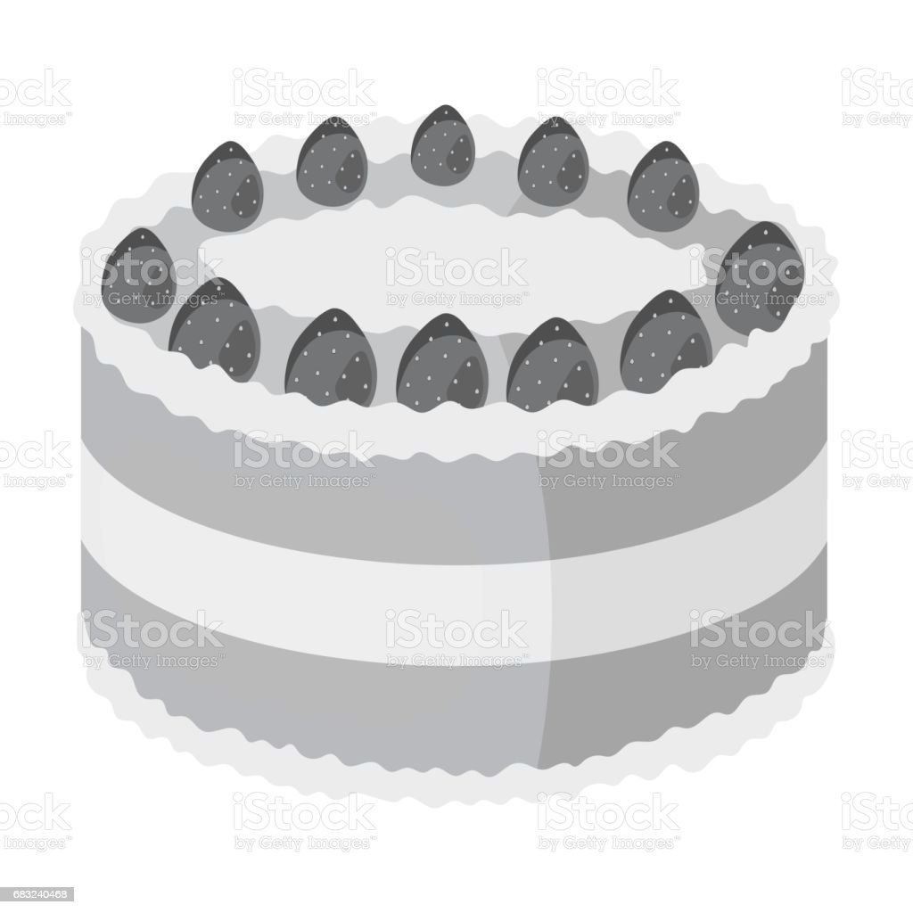 Strawberry cake icon in monochrome style isolated on white background. Cakes symbol stock vector illustration. royalty-free strawberry cake icon in monochrome style isolated on white background cakes symbol stock vector illustration 기념일에 대한 스톡 벡터 아트 및 기타 이미지