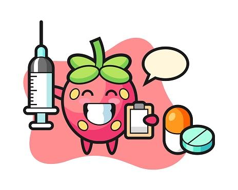 Strawberry cartoon as a doctor