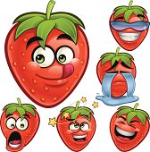 Cartoon strawberry set of 6 expressions including: Tasty, Cool, Crying, Shocked, Dizzy, and Laughing