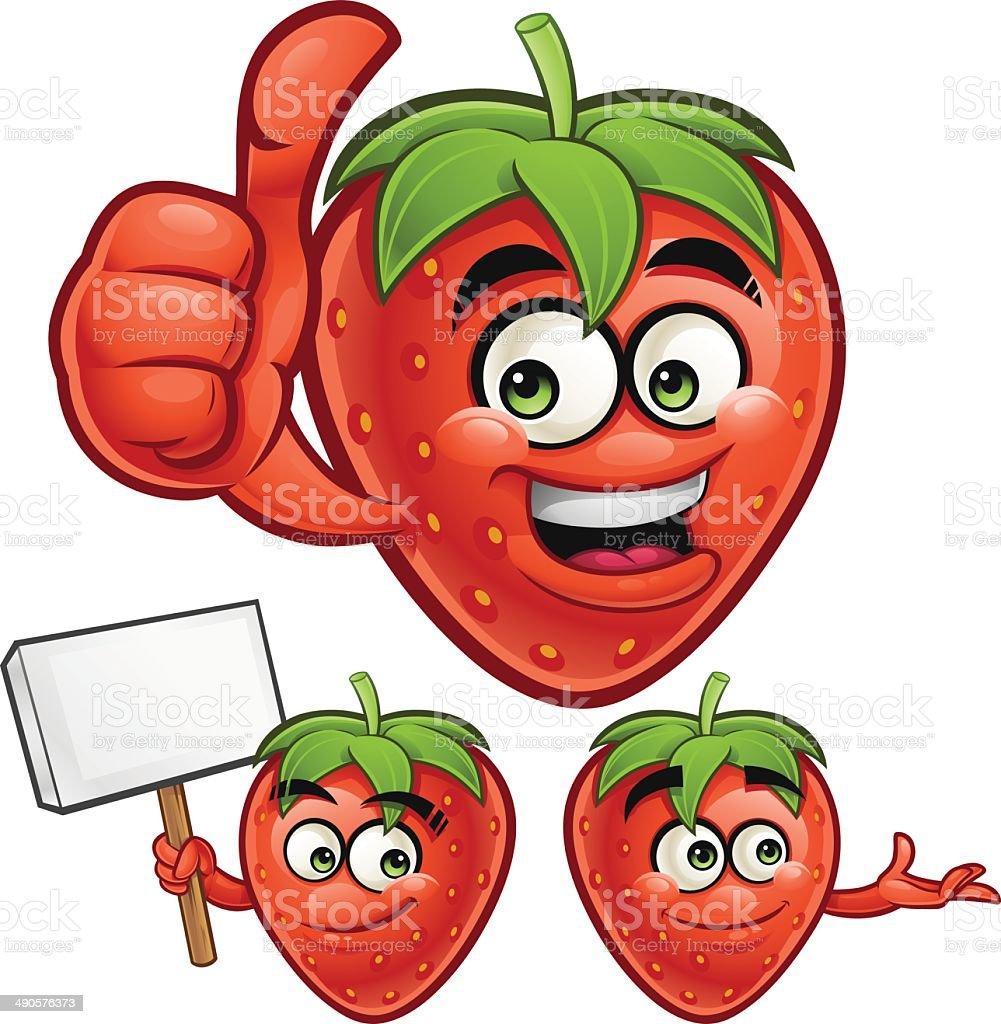 Strawberry Cartoon Set C royalty-free stock vector art