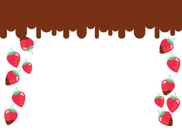 Strawberry chocolate frame vector art illustration