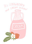 Strawberry cocktail. Vector cafe menu element design. Hand drawn illustration with cream in the bottle and strawberries isolated on the white background.