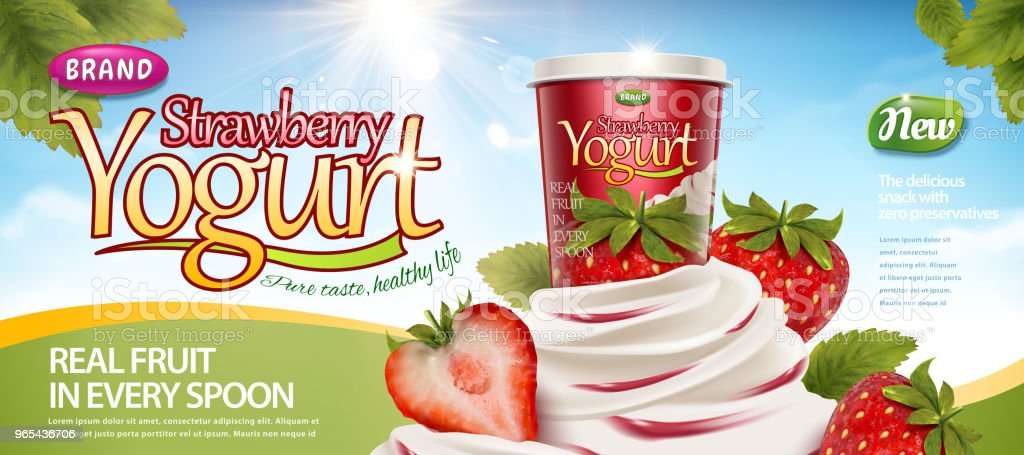 Strawberry creamy yogurt royalty-free strawberry creamy yogurt stock vector art & more images of container