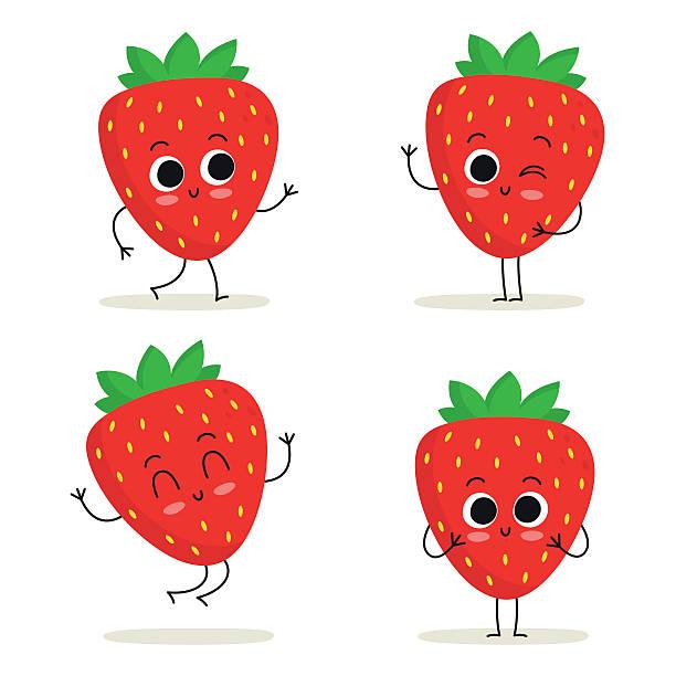 illustrations, cliparts, dessins animés et icônes de fraise. joli jeu de caractères de fruits seul sur blanc - fraise