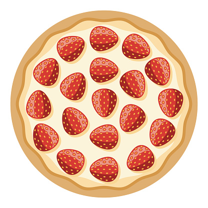 Strawberry Dessert Pizza Icon on Transparent Background