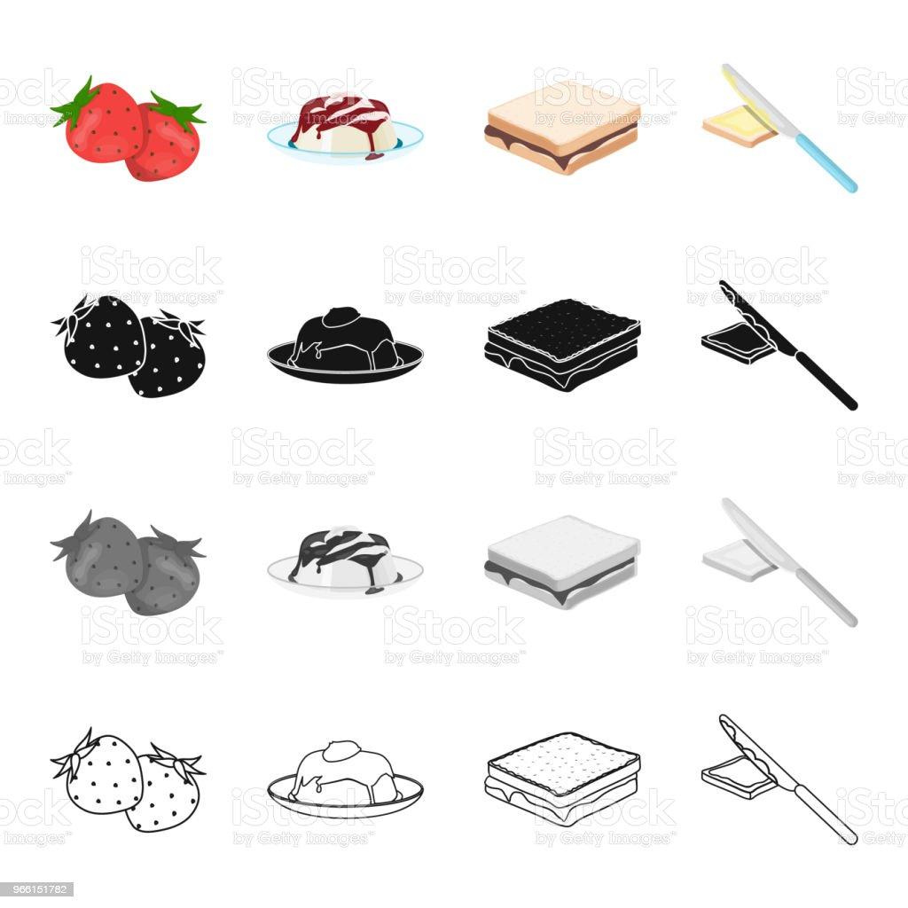 Aardbei dessert met jam, voedsel sandwich met chocolade, botert met mes. Collectie iconen instellenin cartoon zwarte monochroom omtrek stijl vector symbool stock illustratie isometrische web fruit en dessert. - Royalty-free Aanhankelijk vectorkunst