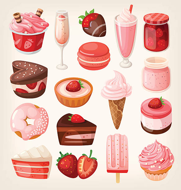 Strawberry desserts vector art illustration