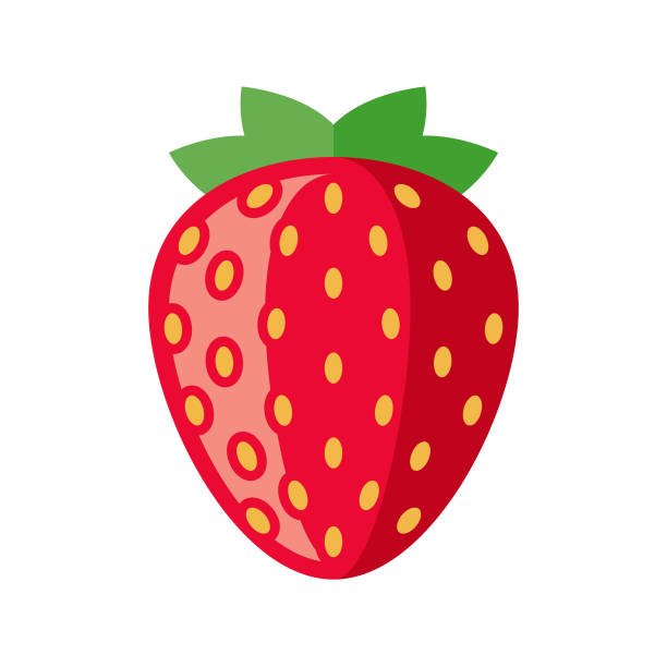 illustrazioni stock, clip art, cartoni animati e icone di tendenza di strawberry flat design fruit icon - fragole