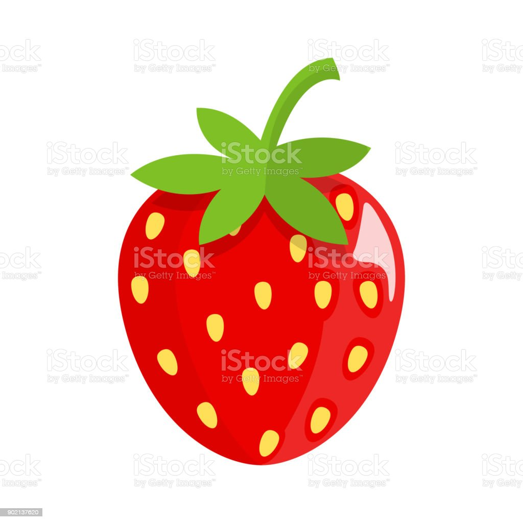 strawberry Flat Design vector art illustration