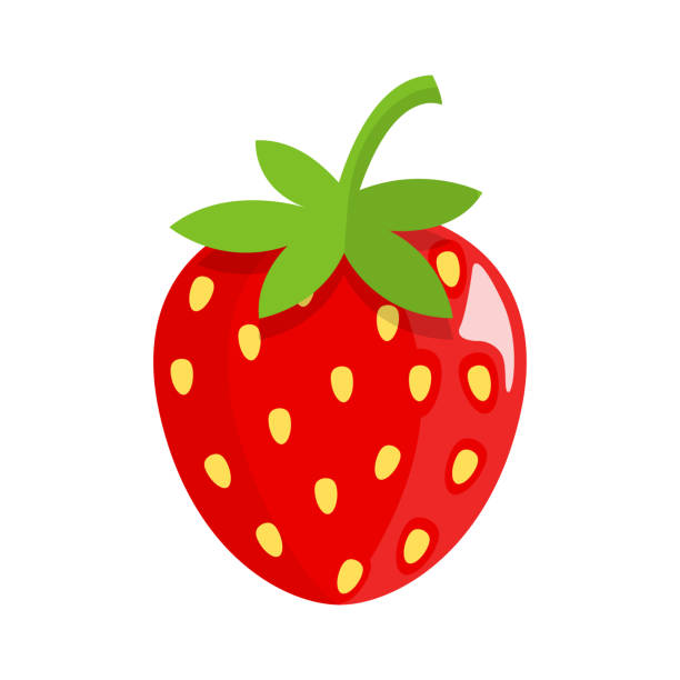 illustrazioni stock, clip art, cartoni animati e icone di tendenza di strawberry flat design - fragole