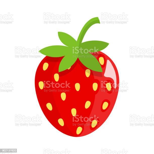 Strawberry Flat Design - Immagini vettoriali stock e altre immagini di Albero da frutto