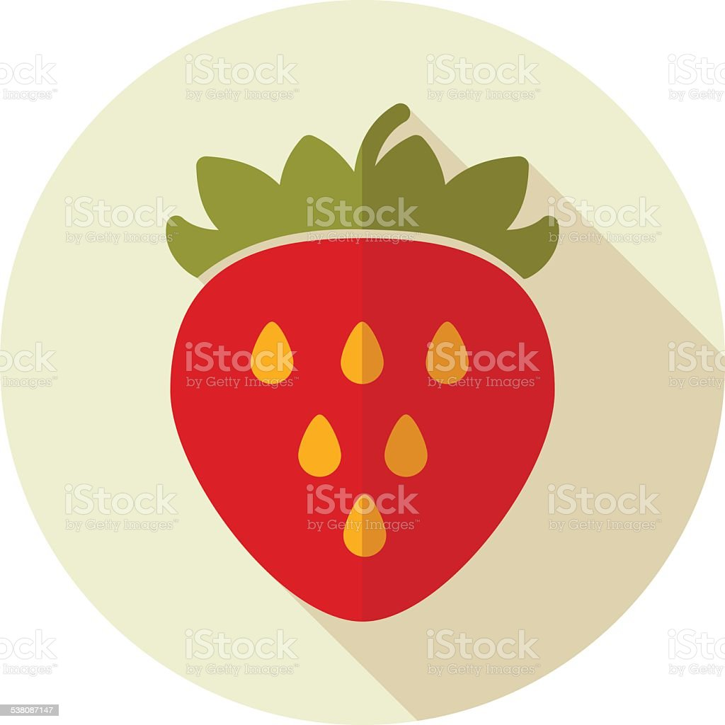 Strawberry flat icon with long shadow vector art illustration
