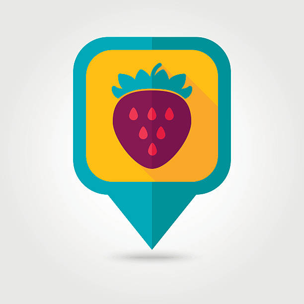 Strawberry flat pin map icon. Berry fruit vector art illustration