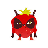 Strawberry fruit hero, superhero character, guard