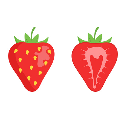 Strawberry Fruit Icon Flat Design.