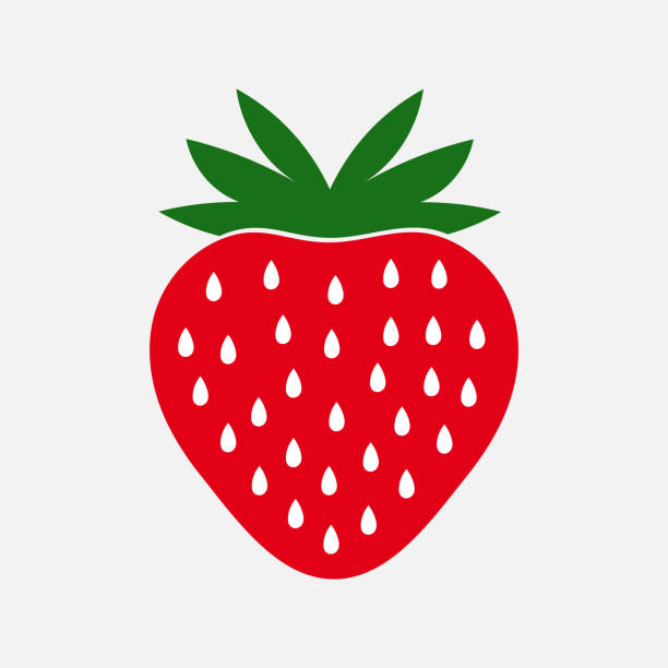 illustrazioni stock, clip art, cartoni animati e icone di tendenza di strawberry fruit icon. - fragole