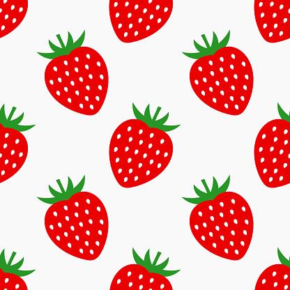Strawberry fruit seamless pattern.