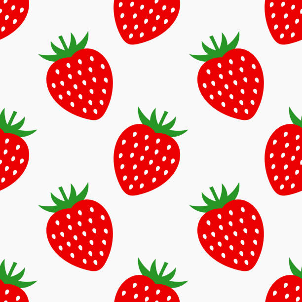 stockillustraties, clipart, cartoons en iconen met aardbei fruit naadloze patroon. - aardbei