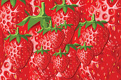 Vector fresh strawberry fruit seamless pattern. Strawberries background