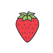A thin line icon in a fruit theme. Strawberry.