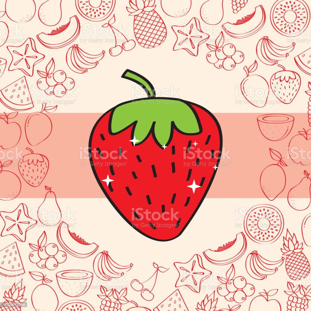 Ilustración De Patrón De Fondo De Nutrición De Frutas Fresa