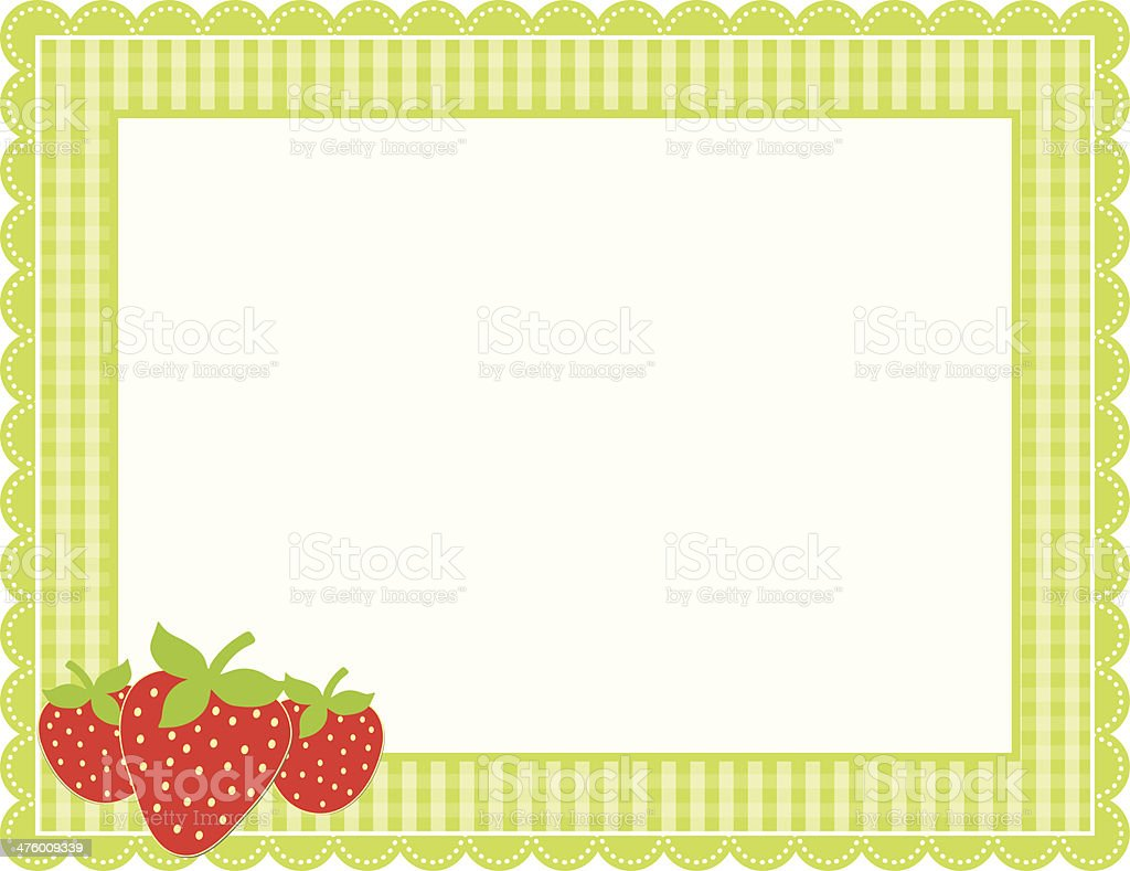 Strawberry Gingham Frame vector art illustration