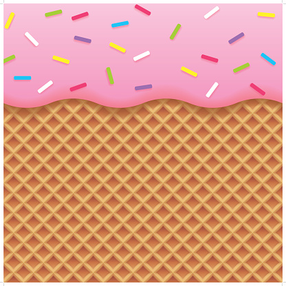 strawberry ice cream and wafer background