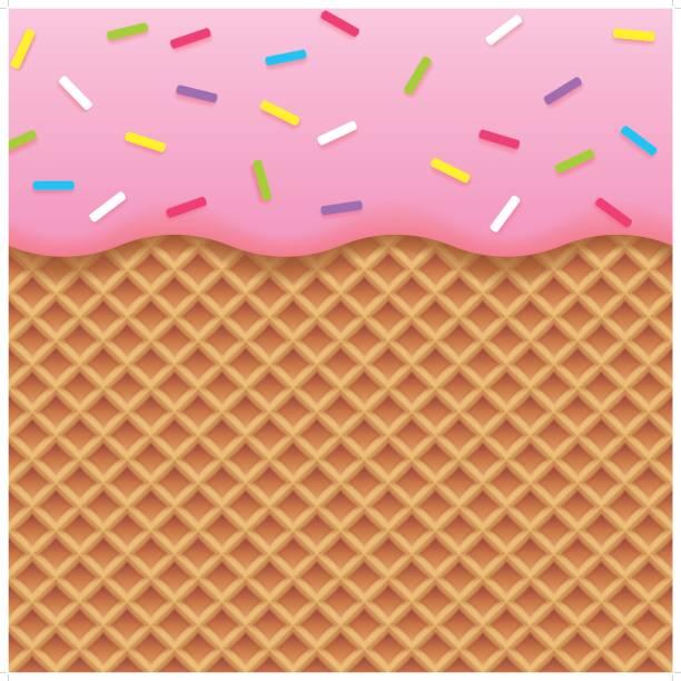 ストロベリーアイスクリームとウェハーの背景 - ワッフル点のイラスト素材/クリップアート素材/マンガ素材/アイコン素材