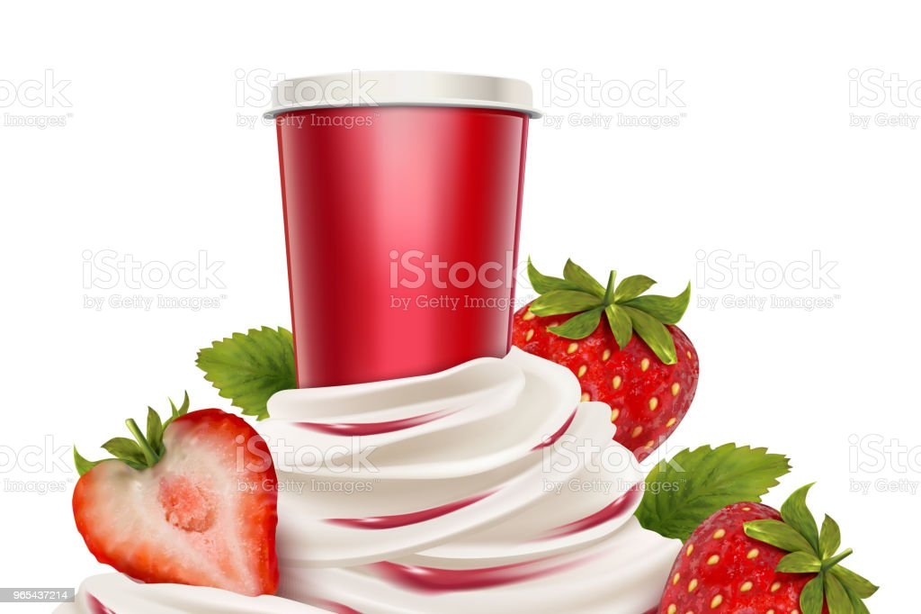 Strawberry ice cream and yogurt royalty-free strawberry ice cream and yogurt stock vector art & more images of blank