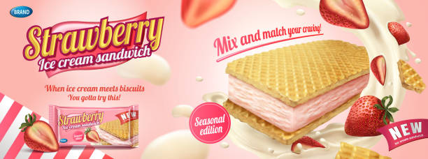 strawberry ice cream sandwich - vanillecreme stock-grafiken, -clipart, -cartoons und -symbole